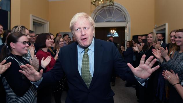 Prime Minister Boris Johnson and his staff are celebrating winning a landslide victory in the U.K. general elections. He's seen here returning to 10 Downing Street after visiting Buckingham Palace, where he was given permission to form the next governmen