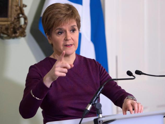 Scottish National Party leader and Scotland's First Minister Nicola Sturgeon is calling for a second referendum on Scottish independence, saying voters endorsed the idea during the U.K.'s recent elections. Sturgeon is seen here Thursday at Bute House in
