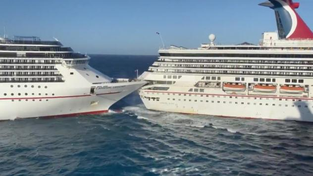 Carnival Glory (right) sheered off a chunk of its deck when it collided with Carnival Legend while trying to maneuver into port Friday morning in Cozumel, Mexico.