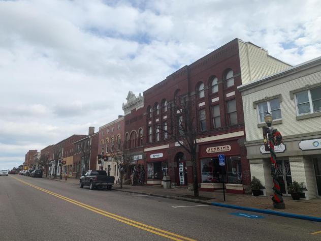 Main Street, St. Clairsville, Ohio (population about 5,000), the county seat of Belmont County.