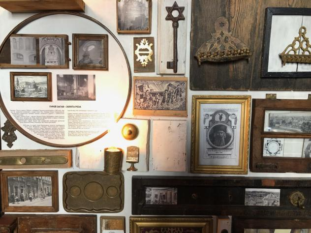 The walls of the Golden Rose restaurant in Lviv, Ukraine, are covered with collages that tell detailed stories about the Jewish legacy of the city.