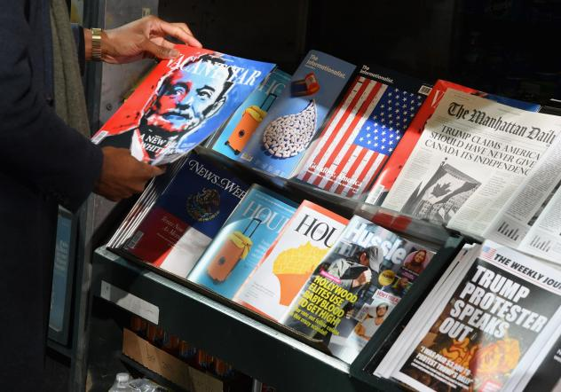 <em>Columbia Journalism Review</em> set up a misinformation newsstand in Manhattan in October 2018, in an effort to educate news consumers about the dangers of disinformation in the lead-up to the U.S. midterm elections.