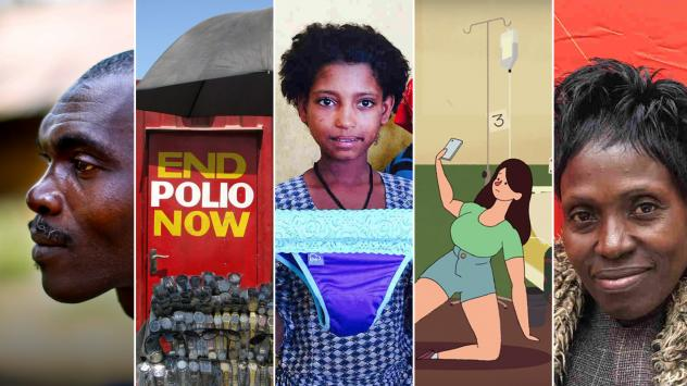 From left: Sekou Sheriff, of Barkedu village in Liberia, whose parents died at<strong> </strong>an Ebola treatment center; a polio vaccination booth in Pakistan; a schoolgirl in Ethiopia examines underwear with a pocket for a menstrual pad; an image from