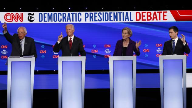 As of the new year, there are four leading contenders for the Democratic presidential nomination (from left): Vermont Sen. Bernie Sanders, former Vice President Joe Biden, Massachusetts Sen. Elizabeth Warren and former South Bend, Ind., Mayor Pete Buttig