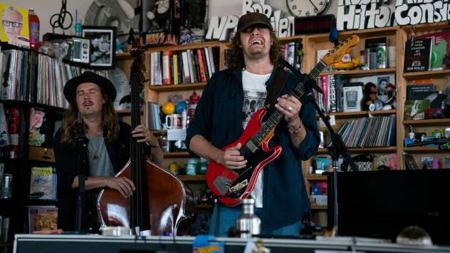 Daniel Norgren performs during a Tiny Desk concert, on Sep. 25, 2019. (Catie Dull/NPR)