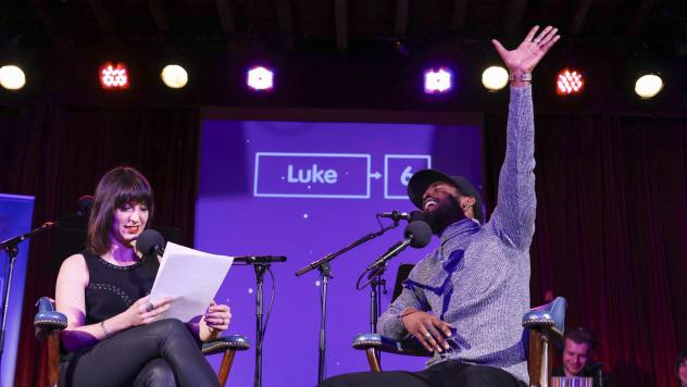 Luke James plays a game on <em>Ask Me Another</em> at the Bell House in Brooklyn, New York.