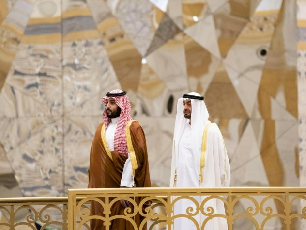 Saudi Crown Prince Mohammed bin Salman (left) attends a ceremony with Abu Dhabi Crown Prince Mohammed bin Zayed Al Nahyan in Abu Dhabi, United Arab Emirates, in November. The Saudi crown prince was in the UAE for talks that were expected to focus on the