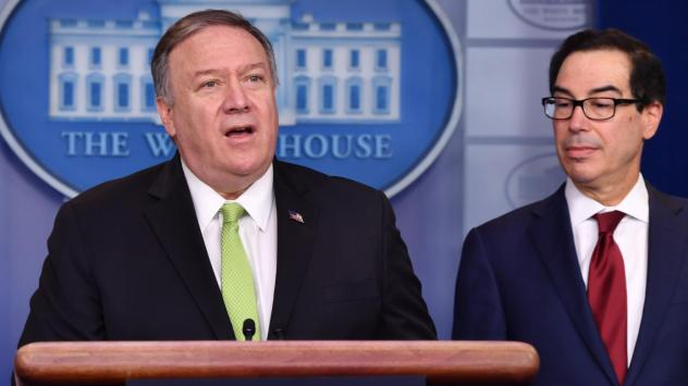 Secretary of State Mike Pompeo and Treasury Secretary Steven Mnuchin announce new sanctions on Iran at the White House on Friday.