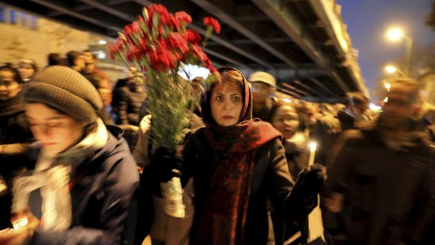 Mourners gathered for a candlelight vigil Saturday in Iran's capital, Tehran, to remember the victims of the Ukrainian plane crash.