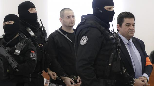 Miroslav Marcek (center) pleaded guilty to carrying out a plot to kill reporter Jan Kuciak and his fiancée. Marian Kocner (right) has denied playing a role in the killings.
