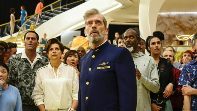 Captain Ryan Clark (Hugh Laurie) spends a lot of time looking aghast in HBO's <em>Avenue 5</em>.