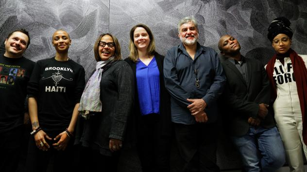 For her album <em>Diatom Ribbons</em>, pianist Kris Davis assembled a group of musicians who, taken together, represent just about everything happening at the edges of jazz right now. (Pictured, from left to right: Trevor Dunn, Val Jeanty, Terri Lyne Car