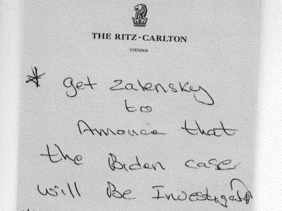 """A handwritten note by Rudy Giuliani associate Lev Parnas lists his tasks, starting with getting Ukraine's new president to announce an investigation into """"the Biden case."""""""