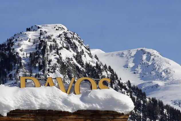 A Davos sign sits atop a hotel roof ahead of this year's World Economic Forum in Davos, Switzerland.
