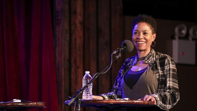 Marina Franklin plays a game on <em>Ask Me Another</em> at the Bell House in Brooklyn, New York.