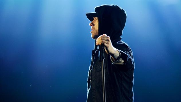 Eminem performs on stage during the MTV European Music Awards in 2017.