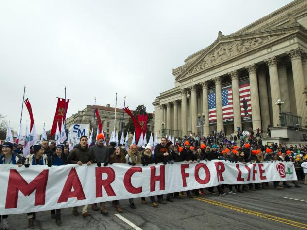 Anti-abortion rights activists march toward the U.S. Supreme Court during the 2019 March for Life in Washington, D.C. President Trump is expected to speak at this year's rally on Friday.