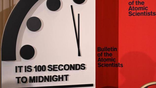 The Doomsday Clock reads 100 seconds to midnight, a decision made by the <em>Bulletin of the Atomic Scientists</em> that was announced Thursday. The clock is intended to represent the danger of global catastrophe.