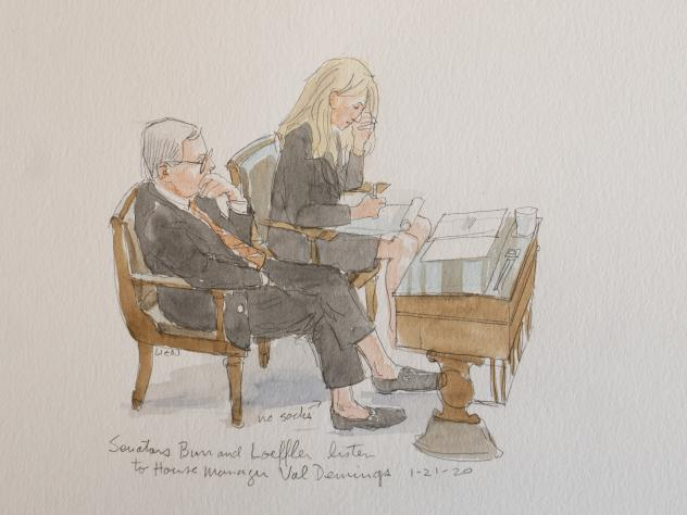 """North Carolina Sen. Richard Burr with Georgia Republican Kelly Loeffler. """"He caught my attention because he wasn't wearing socks. And he has very expensive loafers, or they seem that way. And so I did a sketch of him. And the next day, he had it as his p"""