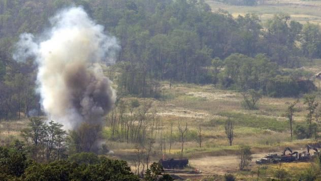 Smoke rises after South Korean soldiers set a blast to remove land mines in the Demilitarized Zone in 2002. The Korean Peninsula had been the last region the U.S. military was allowed to use the weapon — until Friday, when the Trump administration lift