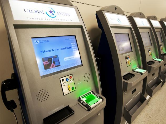 Global Entry Trusted Traveler Network kiosks at Dulles Airport in Virginia. The Department of Homeland Security says it will no longer allow New York residents to enroll in trusted travelers programs.