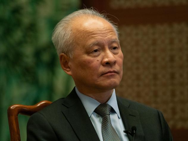 Cui Tiankai, China's ambassador to the U.S., in conversation with NPR's <em>Morning Edition </em>at the Chinese Embassy.