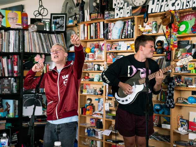 Quinn Christopherson performs a Tiny Desk Contest on May 28, 2019 (Claire Harbage/NPR).
