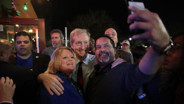 Democratic presidential candidate Tom Steyer greets guests following a campaign stop at Nacho Hippo on Wednesday in Myrtle Beach, S.C.