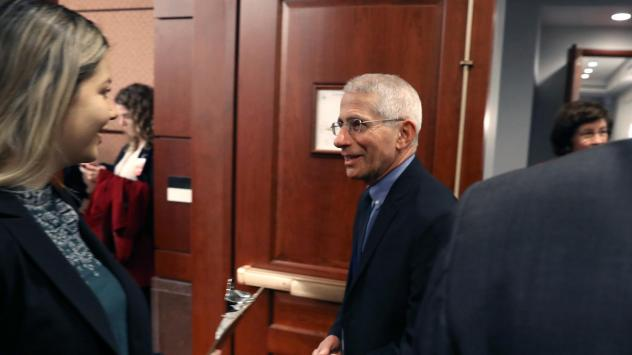 National Institute of Allergy and Infectious Diseases Director Anthony Fauci arrives at a briefing for members of Congress on the response to COVID-19 coronavirus on Friday.