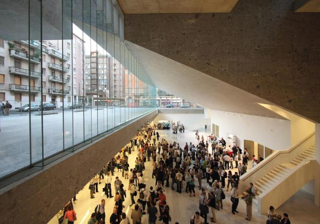 The School of Economics Building at the Universita Luigi Bocconi in Milan, Italy, was designed by Grafton Architects — founded by Yvonne Farrell and Shelley McNamara. It launched Grafton Architects as a leading designer of university buildings.