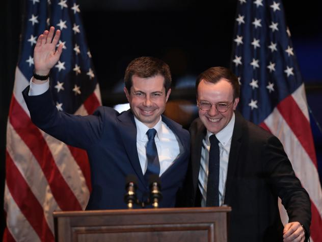 With his husband Chasten by his side, former South Bend, Ind., Mayor Pete Buttigieg announces he is ending his campaign to be the Democratic nominee for president on Sunday in South Bend, Indiana.