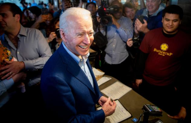 Joe Biden buys a pie at Buttercup Diner in Oakland, Calif., on Tuesday. He swept a number of states in the biggest night of the primary season.