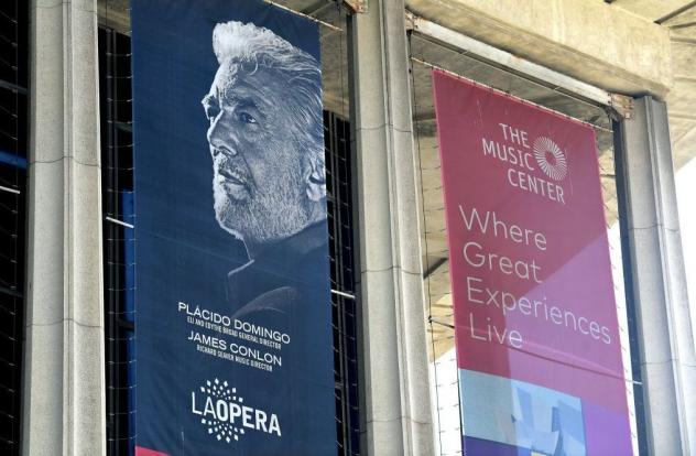 A banner advertising singer Plácido Domingo and the LA Opera on Aug. 13, 2019 — the same day that The Associated Press printed women's first public accusations against the singer.