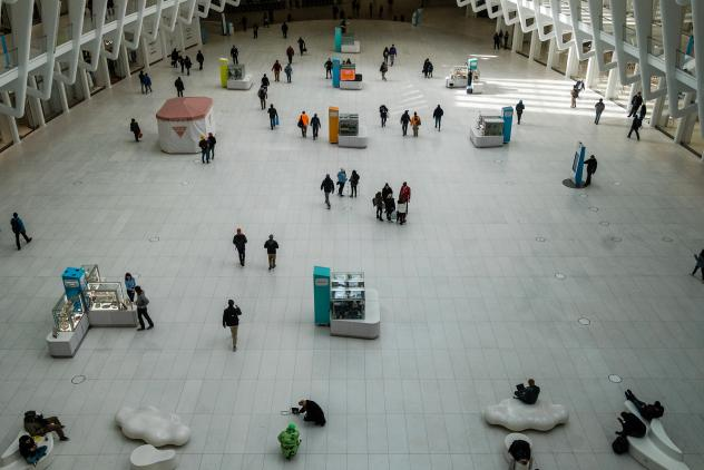 The Oculus transportation hub in Manhattan, on Monday. The governors of New York, New Jersey and Connecticut have banned all gatherings of 50 or more people, and said bars, restaurants, casinos and gyms must close.