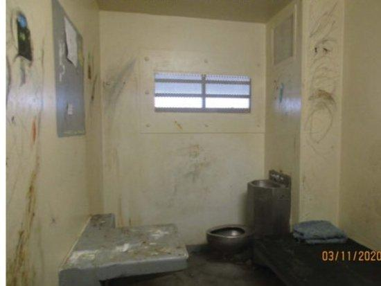 """A picture of a cell at the state prison in Florence, Ariz., where attorneys for the Prison Law Office and ACLU found what they called """"squalid"""" and """"filthy"""" conditions on a recent tour."""