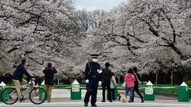 A security guard and pedestrians stand at a closed cherry blossom viewing spot in Tokyo's Ueno Park on March 28. Japan has so far avoided the explosion of cases that China and South Korea have seen.