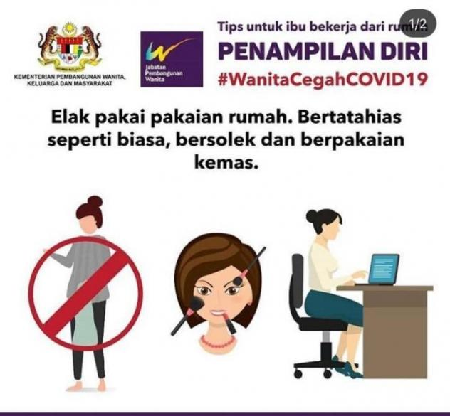 In this online poster, now removed, Malaysia's Ministry for Women, Family and Community Development advised women working at home to wear makeup and office clothes so as not to offend their husbands.