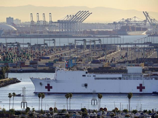 Prosecutors say the USNS Mercy, seen last week entering the Port of Los Angeles, was the target of a train engineer's unsuccessful attack on Tuesday. The derailed train slid to a halt more than 250 yards from the hospital ship. The Mercy was unharmed, an