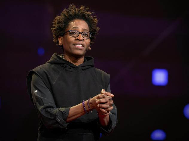 Jacqueline Woodson speaks at TED2019: Bigger Than Us. April 15 - 19, 2019, Vancouver, BC, Canada. Photo: Dian Lofton / TED