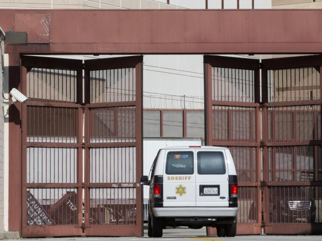 A Los Angeles County Sheriff's Department van enters the Twin Towers Correctional Facility in Los Angeles on April 1, 2020. California is planning to release as many as 3,500 inmates who were due to be paroled in the next two months as it tries to free s