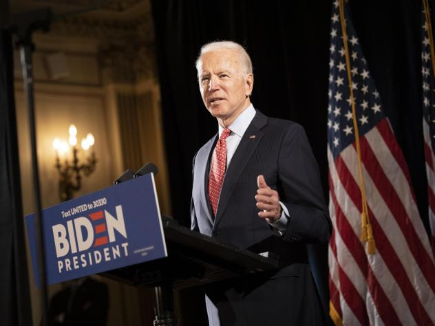 """Former Vice President Joe Biden at a press conference in Wilmington, Del., in mid-March. His bid this week to allow 60-year-olds to get Medicare """"reflects the reality,"""" he says, """"that, even after the current crisis ends, older Americans are likely to fin"""