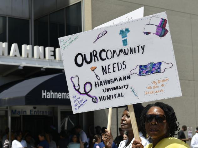 Philadelphia residents, hospital workers, and local politicians protested the imminent closure of Hahnemann University Hospital at a rally on July 15, 2019. In March 2020, city leaders tried but failed to strike a deal with the hospital's new owner to re