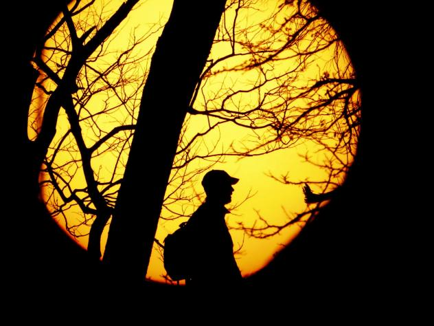 A man is silhouetted against the sun on a bluff overlooking downtown Kansas City, Mo., Wednesday.