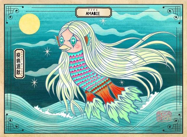 An illustration of an Amabie, a sea monster from 19th century Japanese folklore, that has become an Internet meme and pop culture mascot in the fight against COVID-19.