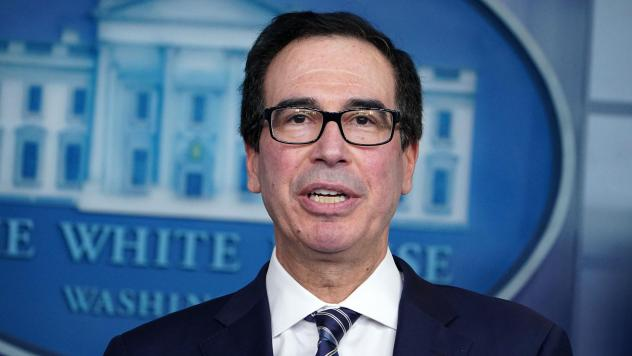 Treasury Secretary Steven Mnuchin speaks during the daily coronavirus briefing at the White House on April 2. He negotiated with congressional leaders to increase funding for the small-business loan program.