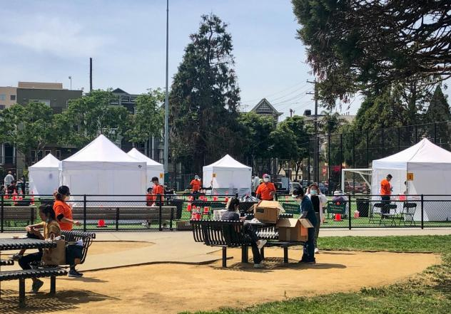 A project in San Francisco to estimate spread of the coronavirus in hard-hit neighborhoods has expanded testing to everyone over age 4 in a broad swath of the Mission District this week, including at a pop-up site at Garfield Square.