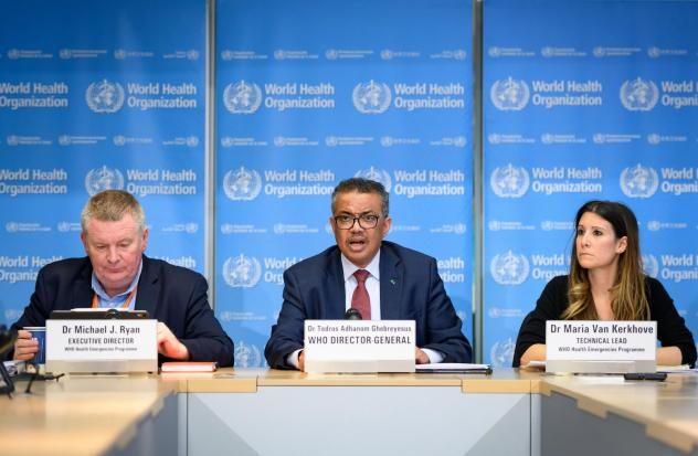 (From L) World Health Organization leaders at a press briefing on COVID-19, held on March 6 at WHO headquarters in Geneva. From left: emergencies program director Michael Ryan, director-general Tedros Adhanom Ghebreyesus and technical lead Maria Van Kerk