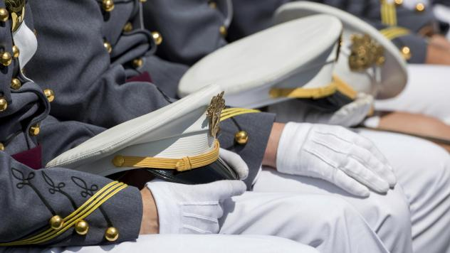 At last year's commencement, before the novel coronavirus, West Point cadets celebrated graduation in tight rows.