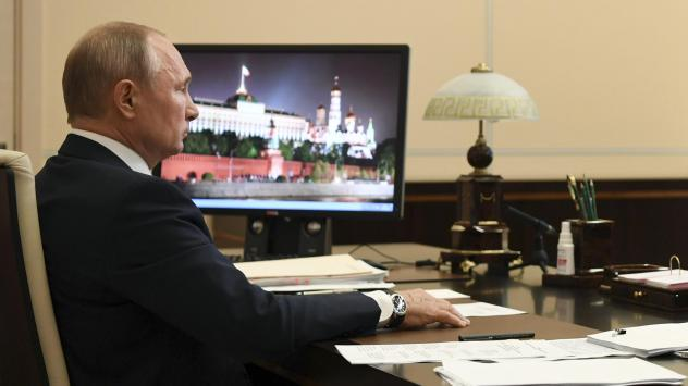 Russian President Vladimir Putin addresses the nation in a televised address on Monday, May 11.