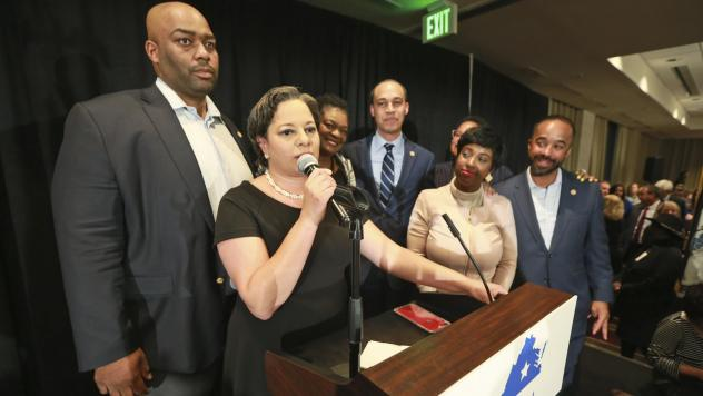 Virginia State Sen. Jennifer McClellan, D-Richmond, is joined by Del. Lamont Bagby, D-Henrico, (far left), and other members of the state's Legislative Black Caucus in November 2019. On Wednesday, the VLBC sent a letter to Gov. Ralph Northam opposing his